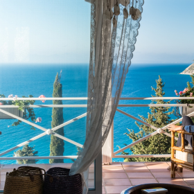 relaxing balcony at lefkada island - sea view